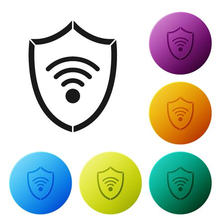 Black Shield with WiFi wireless internet network symbol icon isolated on white background. Protection safety concept. Set icons colorful circle buttons. Vector Illustration