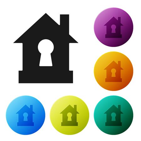 Black House under protection icon isolated on white background. Protection, safety, security, protect, defense concept. Set icons colorful circle buttons. Vector Illustration