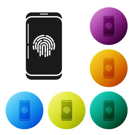Black Smartphone with fingerprint scanner icon isolated on white background. Concept of security, personal access via finger on mobile phone. Set icons colorful circle buttons. Vector Illustration