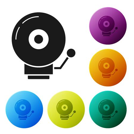 Black Ringing alarm bell icon isolated on white background. Alarm symbol, service bell, handbell sign, notification symbol. Set icons colorful circle buttons. Vector Illustration