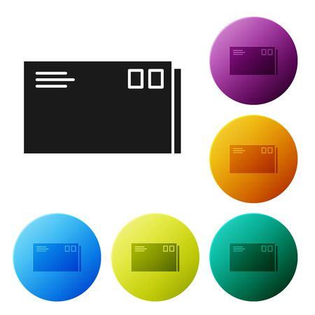 Black Envelope icon isolated on white background. Email message letter symbol. Set icons colorful circle buttons. Vector Illustration
