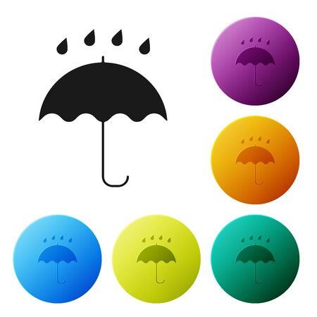 Black Umbrella and rain drops icon isolated on white background. Waterproof icon. Protection, safety, security concept. Water resistant symbol. Set icons colorful circle buttons. Vector Illustration