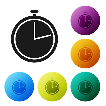 Black Stopwatch icon isolated on white background. Time timer sign. Set icons colorful circle buttons. Vector Illustration