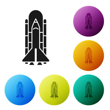 Black Space shuttle and rockets icon isolated on white background. Set icons colorful circle buttons. Vector Illustration