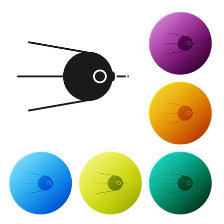 Black Satellite icon isolated on white background. Set icons colorful circle buttons. Vector Illustration