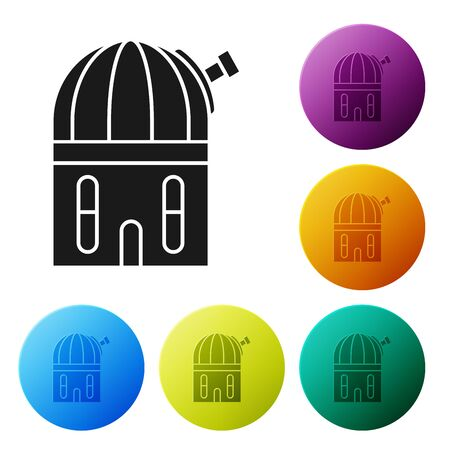 Black Astronomical observatory icon isolated on white background. Set icons colorful circle buttons. Vector Illustration