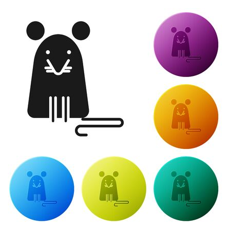 Black Rat icon isolated on white background. Mouse sign. Set icons colorful circle buttons. Vector Illustration 일러스트