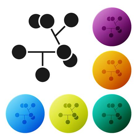Black Molecule icon isolated on white background. Structure of molecules in chemistry, science teachers innovative educational poster. Set icons colorful circle buttons. Vector Illustration 일러스트