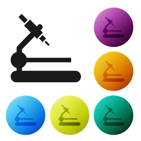 Black Microscope icon isolated on white background. Chemistry, pharmaceutical instrument, microbiology magnifying tool. Set icons colorful circle buttons. Vector Illustration
