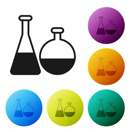Black Test tube and flask chemical laboratory test icon isolated on white background. Laboratory glassware sign. Set icons colorful circle buttons. Vector Illustration 일러스트
