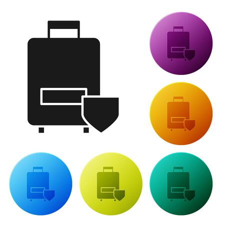 Black Travel suitcase icon isolated on white background. Traveling baggage insurance. Security, safety, protection, protect concept. Set icons colorful circle buttons. Vector Illustration Ilustração
