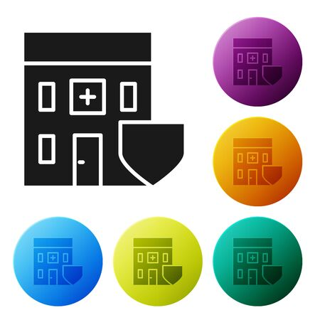 Black Medical hospital building with shield icon isolated on white background. Medical insurance. Security, safety, protection concept. Set icons colorful circle buttons. Vector Illustration 일러스트
