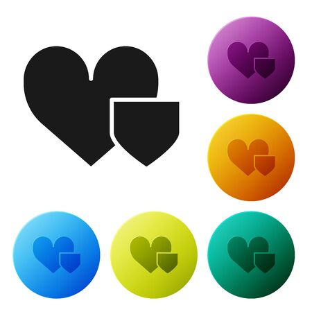 Black Heart with shield icon isolated on white background. Love symbol. Insurance concept. Security, safety, protection, protect concept. Set icons colorful circle buttons. Vector Illustration