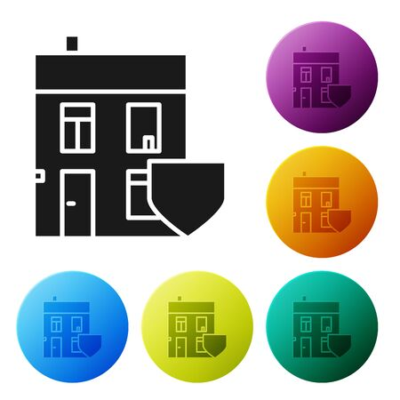 Black House with shield icon isolated on white background. Insurance concept. Security, safety, protection, protect concept. Set icons colorful circle buttons. Vector Illustration