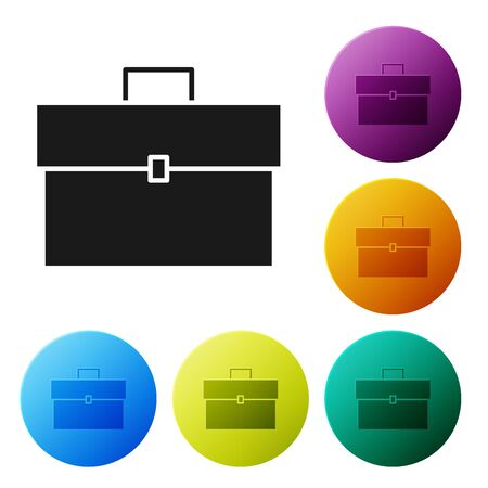 Black Briefcase icon isolated on white background. Business case sign. Business portfolio. Set icons colorful circle buttons. Vector Illustration Ilustração
