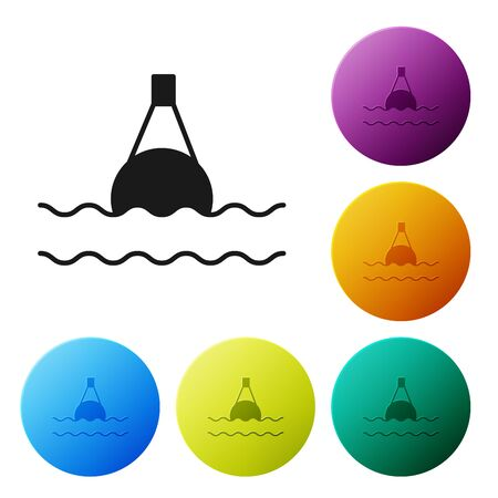Black Floating buoy on the sea icon isolated on white background. Set icons colorful circle buttons. Vector Illustration