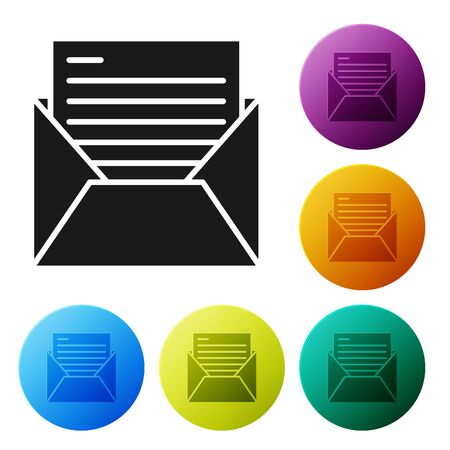 Black Mail and e-mail icon isolated on white background. Envelope symbol e-mail. Email message sign. Set icons colorful circle buttons. Vector Illustration
