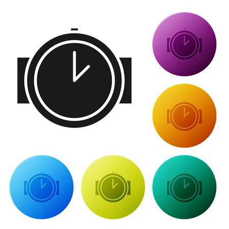 Black Diving watch icon isolated on white background. Diving underwater equipment. Set icons colorful circle buttons. Vector Illustration