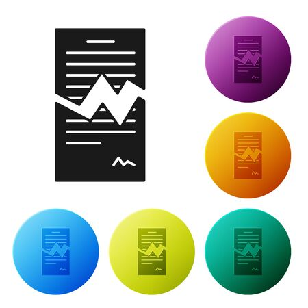 Black Torn contract icon isolated on white background. File icon. Checklist icon. Business concept. Set icons colorful circle buttons. Vector Illustration