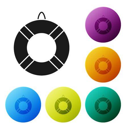 Black Lifebuoy icon isolated on white background. Lifebelt symbol. Set icons colorful circle buttons. Vector Illustration Иллюстрация