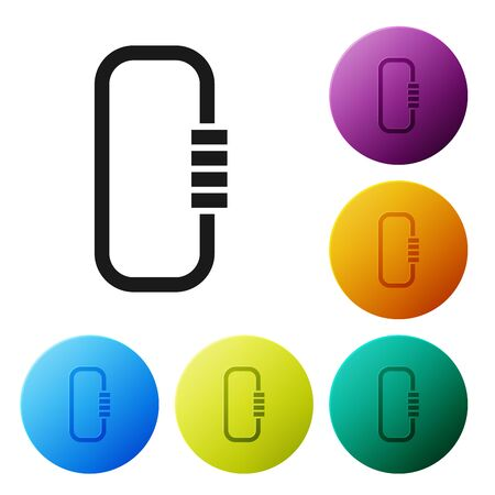 Black Carabiner icon isolated on white background. Extreme sport. Sport equipment. Set icons colorful circle buttons. Vector Illustration Фото со стока - 132089631