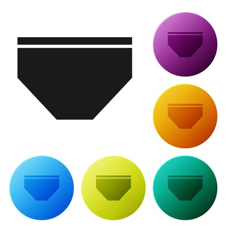 Black Swimming trunks icon isolated on white background. Set icons colorful circle buttons. Vector Illustration