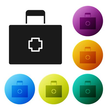 Black First aid kit icon isolated on white background. Medical box with cross. Medical equipment for emergency. Healthcare concept. Set icons colorful circle buttons. Vector Illustration Çizim