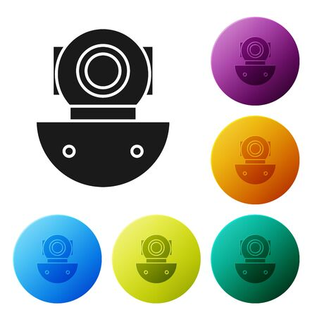 Black Aqualung icon isolated on white background. Diving helmet. Diving underwater equipment. Set icons colorful circle buttons. Vector Illustration