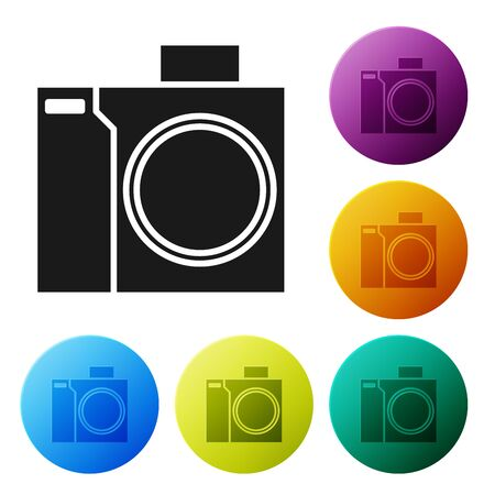 Black Photo camera for diver icon isolated on white background. Foto camera icon. Diving underwater equipment. Set icons colorful circle buttons. Vector Illustration Illusztráció