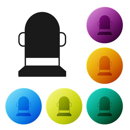 Black Buoy icon isolated on white background. Set icons colorful circle buttons. Vector Illustration 向量圖像