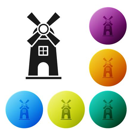 Black Windmill icon isolated on white background. Set icons colorful circle buttons. Vector Illustration