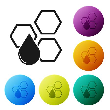 Black Honeycomb icon isolated on white background. Honey cells symbol. Sweet natural food. Set icons colorful circle buttons. Vector Illustration