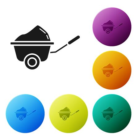 Black Wheelbarrow with dirt icon isolated on white background. Tool equipment. Agriculture cart wheel farm. Set icons colorful circle buttons. Vector Illustration  イラスト・ベクター素材
