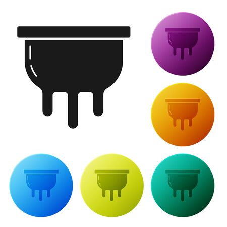 Black Udder icon isolated on white background. Set icons colorful circle buttons. Vector Illustration