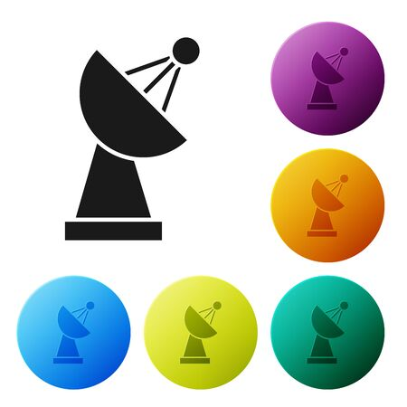 Black Radar icon isolated on white background. Search system. Satellite sign. Set icons colorful circle buttons. Vector Illustration  イラスト・ベクター素材