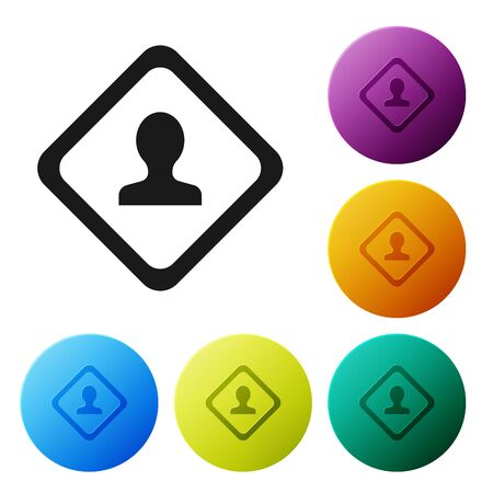 Black Road traffic sign. Signpost icon isolated on white background. Pointer symbol. Isolated street information sign. Direction sign. Set icons colorful circle buttons. Vector Illustration Illustration