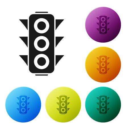 Black Traffic light icon isolated on white background. Set icons colorful circle buttons. Vector Illustration Imagens - 132089973