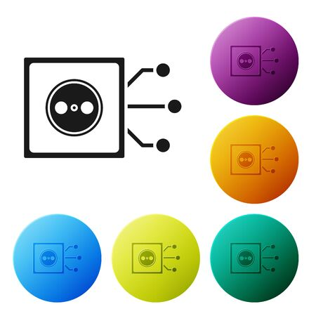 Black Smart home icon isolated on white background. Remote control. Set icons colorful circle buttons. Vector Illustration