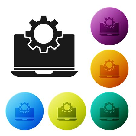 Black Laptop and gear icon isolated on white background. Laptop service concept. Adjusting app, setting options, maintenance, repair, fixing. Set icons colorful circle buttons. Vector Illustration