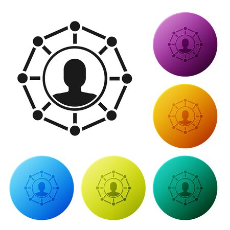 Black Project team base icon isolated on white background. Business analysis and planning, team work, project management. Developers. Set icons colorful circle buttons. Vector Illustration