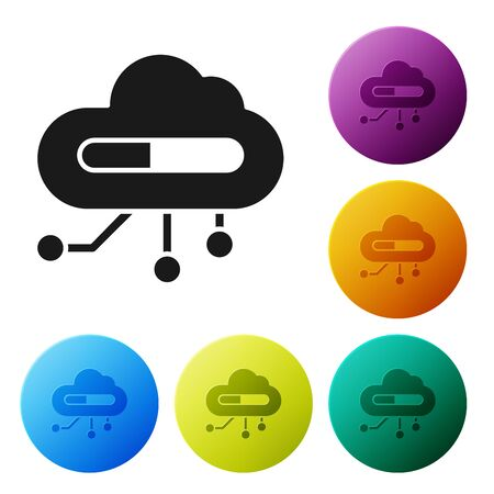 Black Internet of things icon isolated on white background. Cloud computing design concept. Digital network connection. Set icons colorful circle buttons. Vector Illustration