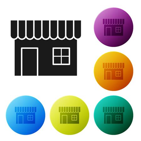 Black Shopping building or market store icon isolated on white background. Shop construction. Set icons colorful circle buttons. Vector Illustration