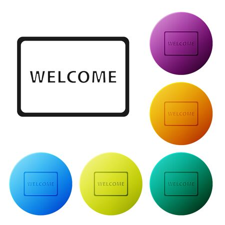 Black Doormat with the text Welcome icon isolated on white background. Welcome mat sign. Set icons colorful circle buttons. Vector Illustration Çizim