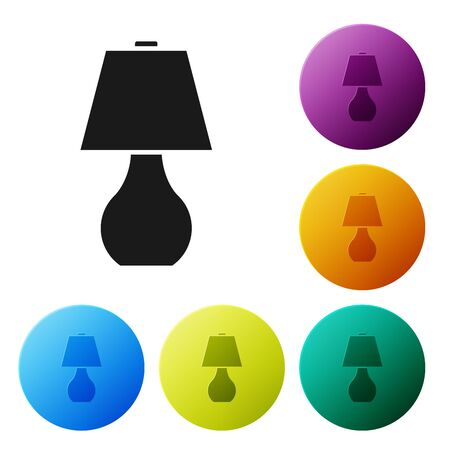 Black Table lamp icon isolated on white background. Set icons colorful circle buttons. Vector Illustration