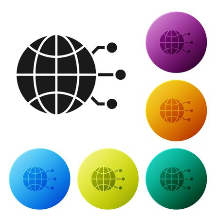 Black Global technology or social network icon isolated on white background. Set icons colorful circle buttons. Vector Illustration