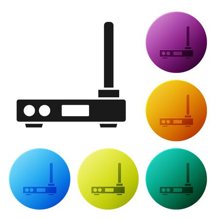 Black Router and wifi signal symbol icon isolated on white background. Wireless modem router. Computer technology internet. Set icons colorful circle buttons. Vector Illustration Ilustracja