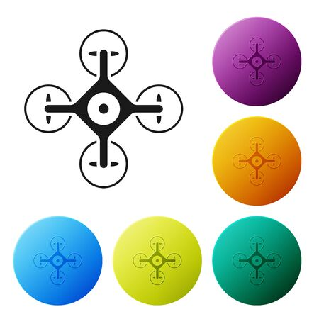 Black Drone flying with action video camera icon isolated on white background. Quadrocopter with video and photo camera symbol. Set icons colorful circle buttons. Vector Illustration
