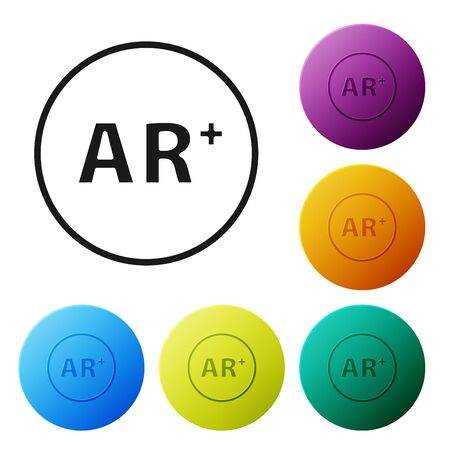 Black Ar, augmented reality icon isolated on white background. Set icons colorful circle buttons. Vector Illustration