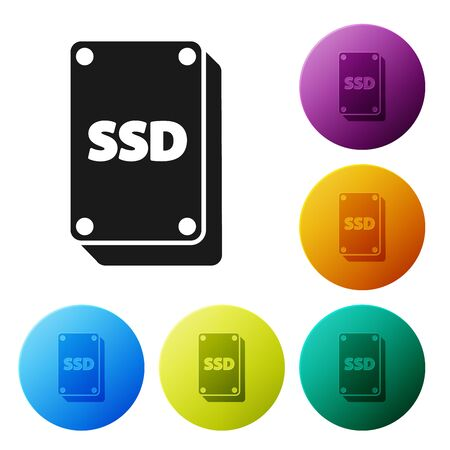Black SSD card icon isolated on white background. Solid state drive sign. Storage disk symbol. Set icons colorful circle buttons. Vector Illustration