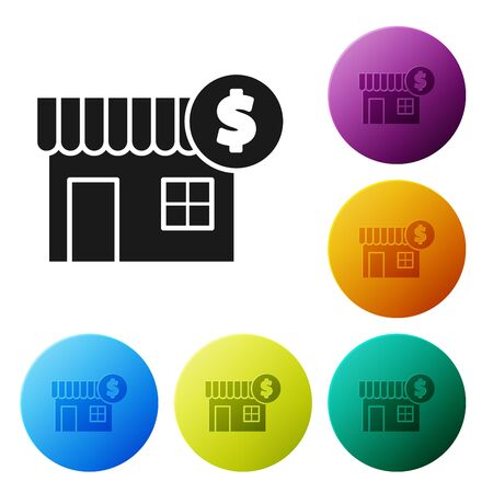 Black House with dollar symbol icon isolated on white background. Home and money. Real estate concept. Set icons colorful circle buttons. Vector Illustration  イラスト・ベクター素材